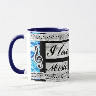 """""""Ich Liebe-Musik-"""" gemaltes Klavier befestige Tasse"""