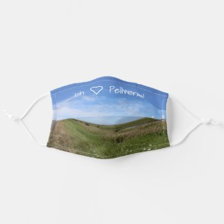 Ich liebe Pellworm! Himmel über der grünen Insel Stoff Mund-Nasen-Masken