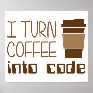 Ich mache Kaffee zu Programmierungscode Poster