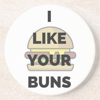 Ich mag Ihre Brötchen-Hamburger-Spaß-Illustration Sandstein Untersetzer