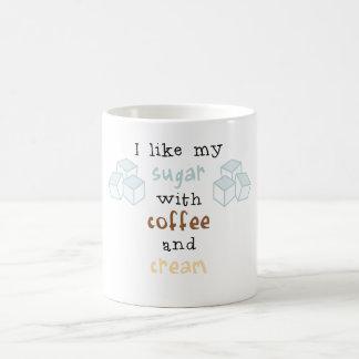 Ich mag meinen Zucker mit Kaffee und Creme Kaffeetasse