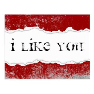 ich mag Sie Riss paginieren Postkarte