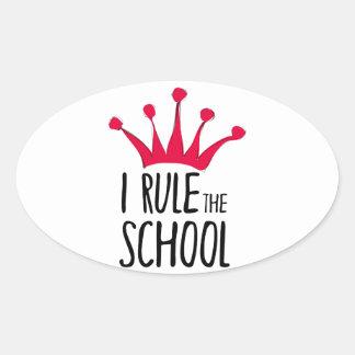 """""""Ich ordne Schul"""" Zeichen mit rosa Krone an, Ovaler Aufkleber"""