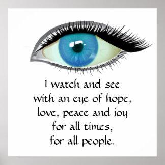 Ich passe auf und sehe blaues Auge Poster