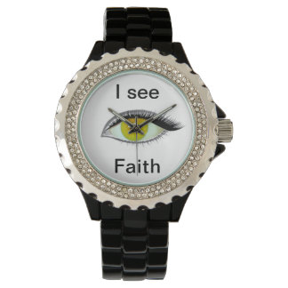 Ich passe auf und sehe Glauben Armbanduhr