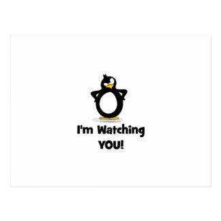 Ich passe Sie Pinguin auf Postkarte