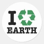 Ich recycle Erde Runde Sticker