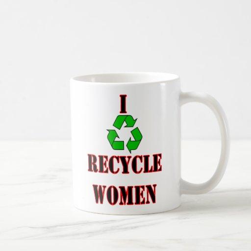 Ich recycle Frauen. lustiger Spaßlachen-Witztext Tee Tasse