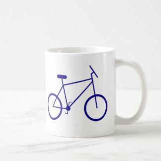 Ich reite mein Fahrrad, um zu arbeiten. (Blau) Kaffee Tasse