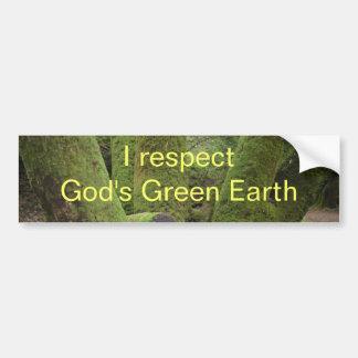 Ich respektiere die grüne Erde des Gottes Autoaufkleber