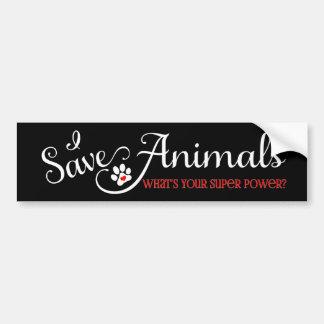 Ich rette Tiere - was ist Ihr SuperPower? Autoaufkleber
