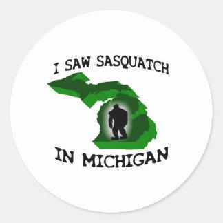 Ich sah Sasquatch in Michigan Runder Sticker