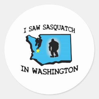 Ich sah Sasquatch in Washington Runder Aufkleber