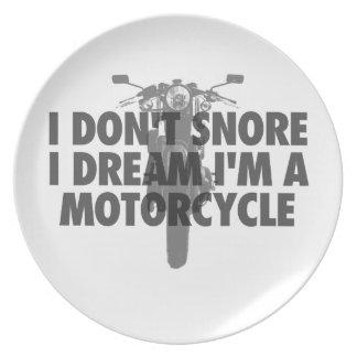 Ich schnarche nicht i-Traum, den ich ein Motorrad Melaminteller