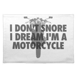 Ich schnarche nicht i-Traum, den ich ein Motorrad Tischset