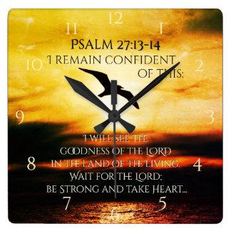 Ich sehe die Güte des 27:13 Lords Psalm - 14 Quadratische Wanduhr