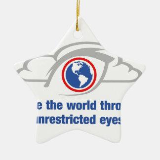Ich sehe die Welt durch uneingeschränkte Augen Keramik Stern-Ornament