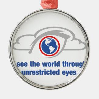 Ich sehe die Welt durch uneingeschränkte Augen Rundes Silberfarbenes Ornament