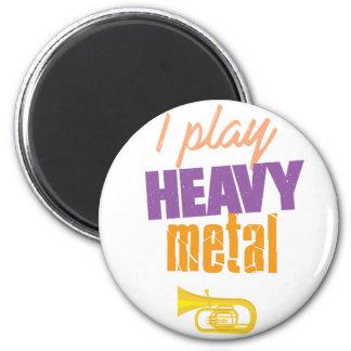 Ich spiele lustigen Tuba-Schwermetallspieler Runder Magnet 5,7 Cm