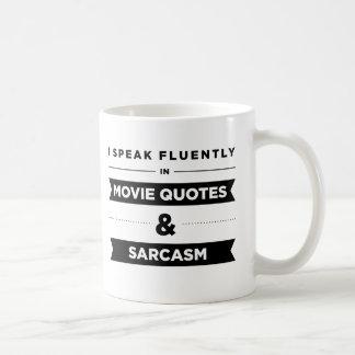 Ich spreche fließend in den Film-Zitaten und dem Kaffeetasse