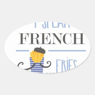 Ich spreche französisch… Fischrogen Ovaler Aufkleber