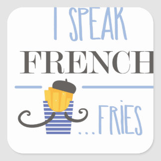 Ich spreche französisch… Fischrogen Quadratischer Aufkleber