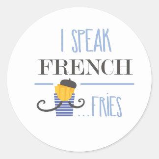 Ich spreche französisch… Fischrogen Runder Aufkleber