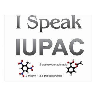 Ich spreche IUPAC Chemie-Nomenklatur Postkarte