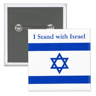 Ich stehe mit Israel Quadratischer Button 5,1 Cm