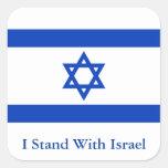 Ich stehe mit Israel Quadrataufkleber