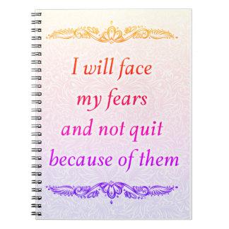 Ich stelle meine Furcht - positives Quote´s Notizblock