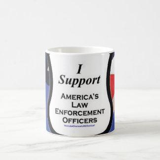 Ich stütze die dünne blaue Linie Kaffeetasse