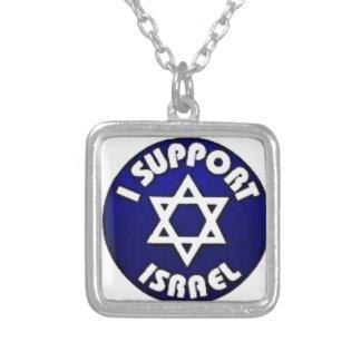Ich stütze Israel - Davidsstern מגןדוד Versilberte Kette