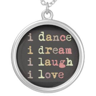 ich tanze Traum i ich lache i-Liebe, Charme Versilberte Kette