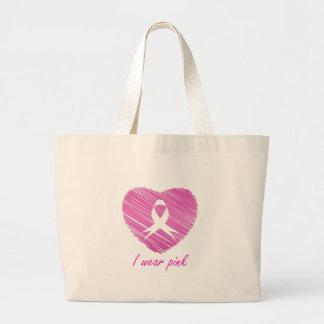 Ich trage Brustkrebs-Bewusstseinssymbol des Rosas Jumbo Stoffbeutel