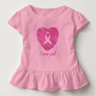 Ich trage Brustkrebs-Bewusstseinssymbol des Rosas Kleinkind T-shirt