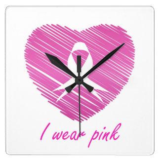 Ich trage Brustkrebs-Bewusstseinssymbol des Rosas Quadratische Wanduhr