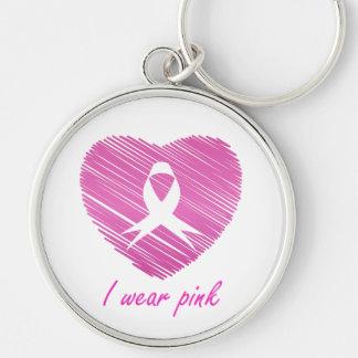 Ich trage Brustkrebs-Bewusstseinssymbol des Rosas Schlüsselanhänger