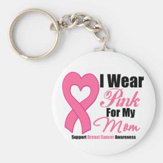 Ich trage rosa Band für meine Mamma Standard Runder Schlüsselanhänger