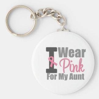 Ich trage rosa Band für meine Tante Standard Runder Schlüsselanhänger
