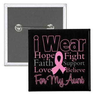 Ich trage rosa Collagen-Tante - Brustkrebs Quadratischer Button 5,1 Cm