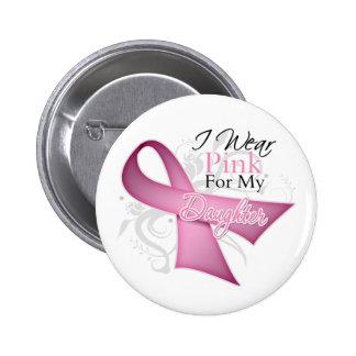 Ich trage Rosa für meinen Tochter-Brustkrebs Runder Button 5,7 Cm