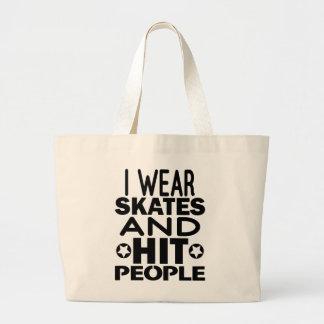Ich trage Skate und Schlagleute, Rolle Derby Jumbo Stoffbeutel
