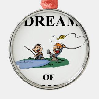 Ich träume vom Fischen Silbernes Ornament