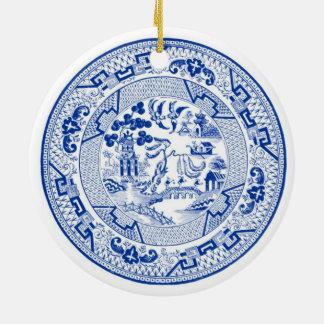 Ich träume von weißem Weihnachten a (Blau u.) Rundes Keramik Ornament