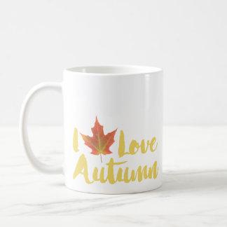 Ich treibe Herbst Blätter Kaffeetasse