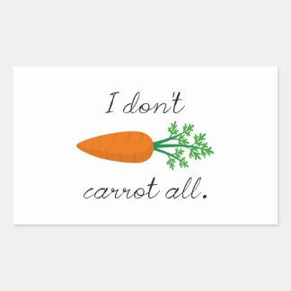Ich tue nicht Karotte alle Rechteckiger Aufkleber