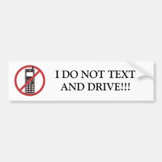 Ich tue nicht Text-und Antriebs-Autoaufkleber