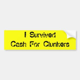 Ich überlebte Bargeld für Clunkers Autoaufkleber