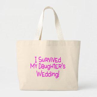 Ich überlebte meine Töchter, die Rosa Wedding sind Jumbo Stoffbeutel